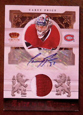 "2010-11 CAREY PRICE CROWN ROYALE ""HEIRS TO THE THRONE"" PATCH AUTOGRAPH SP 10/10!"