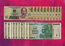 10 x 10,000 (10000) Vietnam Dong Banknotes + 10 x 50 Million Zimbabwe Dollars AA