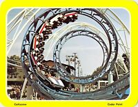 CEDAR POINT CORKSCREW ROLLER COASTER postcard 5.25x6.75 Amusement Park