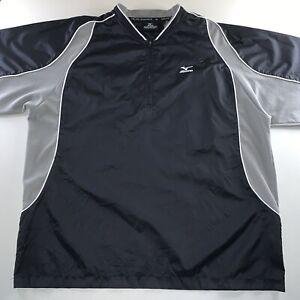 Men's Mizuno Osaka Japan Logo Pullover 1/4 Zip Shirt Black Gray Size XX Large