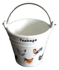 Chicken teabag tidy Bucket,decorated with Cockerel rooster hen choice of 2 sizes