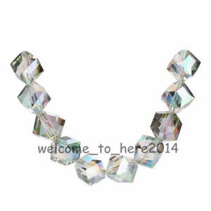 Faceted Glass Crystal Across Corners Hole Cube Square Loose Spacer Beads 10mm