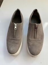 Vince Taupe Leather Zip Up Sneakers Size 8