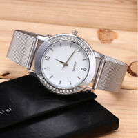 Fashion Women Crystal Silver Stainless Steel Analog Quartz Wrist Watch Bracelet