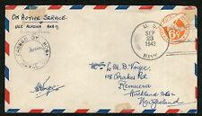 WW11 - US Navy Cover (On Active Service) to New Zealand 23/9/1943 - Used