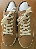 Soludos Womens Ibiza Classic Lace Up Sneakers Camel Beige Leather Size 8.5
