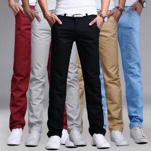 Mens Plain Straight Leg Chino Pants Regular Fit Golf Office Work Long Trousers