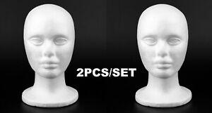 2pc Male Styrofoam Foam Mannequin Head Stand Model Display Wig Polystyrene