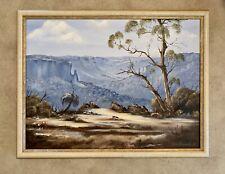 Vintage Original Oil Painting  Blue Mountains Landscape Signed