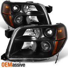 06-08 Honda Pilot Black Bezel Projector Headlights Headlamps Replacement Pair