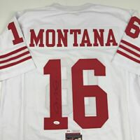 Autographed/Signed JOE MONTANA San Francisco White Football Jersey JSA COA Auto