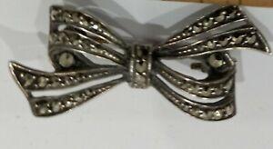 Vintage Solid Sterling 925 MARCASITE  Brooch