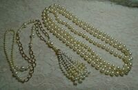 VINTAGE TO NOW CREAM & WHITE FAUX PEARL BEADED TASSEL LONG NECKLACE LOT