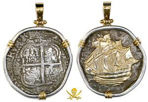 PENDANT BOLIVIA JEWELRY 1654 8 REALES PIRATE GOLD COINS CAPITANA SHIPWRECK COB