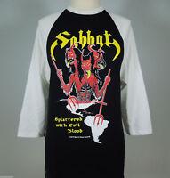 SABBAT Splattered Evil Blood Official Raglan White Sleeves L (R.I.P Records) NEW