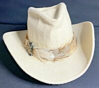Vintage Resistol Western Cowboy Hat Self Conforming Feathers Beige Hard_8s_Magic