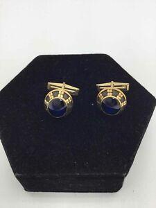 10K Yellow Gold Blue Tanzanite Cufflinks (11.7g)
