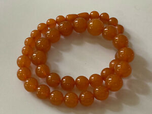 Vintage Baltic Amber Necklace Graduated Round Beads