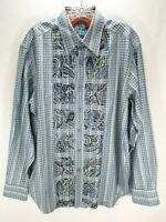 Mens Robert Graham Embroidered Blue Stripe Flip Cuff Shirt Sz Large Long Sleeve
