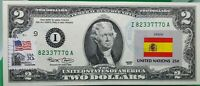 US $2 DOLLARS 2003 STAMP CANCEL FLAG OF UN FROM SPAIN LUCKY MONEY VALUE $125