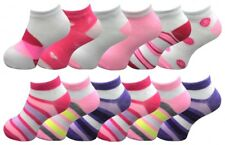 6 Pairs Girls Childrens Trainer Liner Sports Socks Funky Designs Shoe Liners