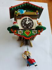 LOVELY VINTAGE MINIATURE CUCKOO CLOCK SPARES / REPAIRS as UN-TESTED