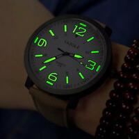 Mode Lederband Luxuxmänner Militärquarz -Analog-Armee Luminous Armbanduhr New