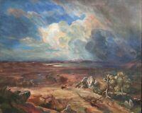 Unleserlich Signiert - Landschaft mit Pferd auf der Flucht -  Öl/Lwd. - um 1920