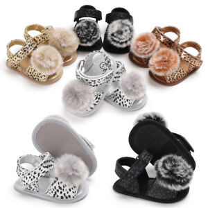 Newborn Baby Girl Pram Shoes Infant Toddler Pom Pom Summer Sandals 3 6 9 12 18 M