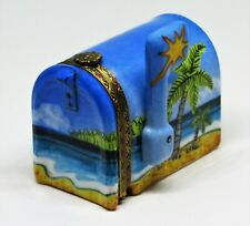 Limoges France Box - Limoges Imports - Mailbox & Beach Scene - Tropical Cocktail