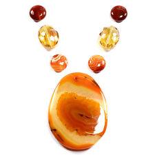 Le Botswana feu Agate & collier cristal mystique Pendentif Bead Set perles fait main UK