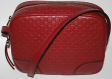 NWT GUCCI MICRO GG GUCCISSIMA MESSENGER BAG RED LEATHER 449413