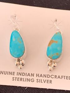 Stunning Women Native American Sterling Silver Turquoise Earrings 4675 Gift Sale