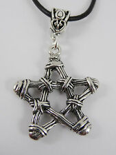 Pentagram Necklace in 3D Wicker design. Pewter pendant on Leather Cord. Wicca