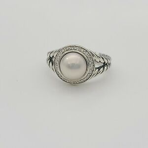 David Yurman Sterling Silver Halo Diamond Pearl Split Shank Cable Ring Size 6