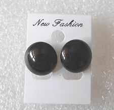 Funky Black Plastic Button Earrings Kitsch