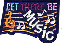 """LET THERE BE MUSIC"" w/MUSIC NOTES- Iron On Applique Patch/Rock N'Roll,Jazz"