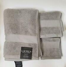 NEW RALPH LAUREN WESCOTT 3 PC SET CAPE GRAY,GREY BATH+HAND+WASH CLOTH TOWEL