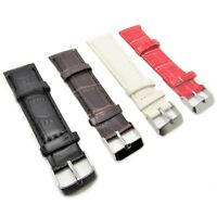 20mm Genuine Leather Watch Strap Alligator Effect Black White Brown Mens Ladies