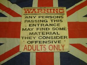 Vintage Warning Offensive Material Sign - Gerrard Street, London UK