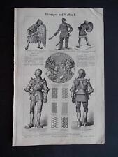 1896 Swords Armor Arms Meyers Lexikon ORIGINAL Meyer Rare Victorian Litho Print