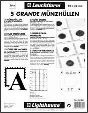 Leuchtturm Grande DIN A4 Münzhüllen f. je 20 Münzrähmchen 50x50 5er-Pack 324851