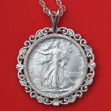 US 1945 Walking Liberty Silver AU Coin Solid 925 Sterling Silver Necklace NEW