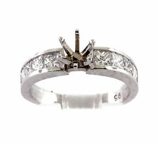 1.26 CT Natural princess cut diamond semi mount ring/setting only VS1/G Platinum