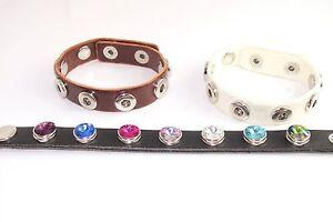 Armbänder im Mini Chunk Style für je 7 Druckknöpfe 12 mm schwarz braun weiß