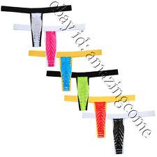 5PCS/Lot Men Striped T-Back Thong Gay Underwear Jockstrap Pouch Micro G-String