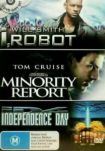 Independence Day + I Robot + Minority Report DVD (3 Movies) SAME / NEXT DAY POST