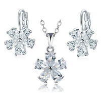 2pc/Lot Shinny White Topaz Vintage Jewelry Silver Necklace + Earrings for Women