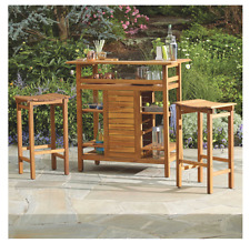 Westerly Acacia Wood Bar Table, Outdoor Backyard Bar Furniture, Cocktails, Party