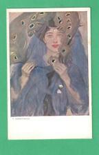 CA 1908 POLISH SIGNED ART NOUVEAU POSTCARD BEAUTIFUL LADY PEACOCK-SCARF